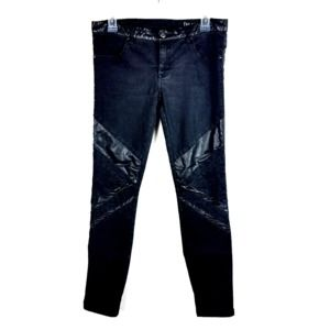 BlankNYC Black Jeans With Faux Leather Detail